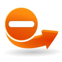 moins sur bouton web orange
