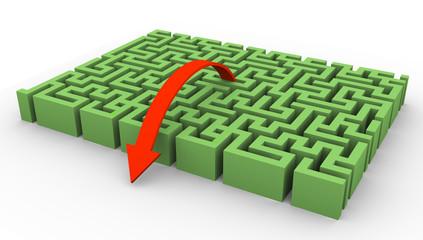 3d maze and arrow