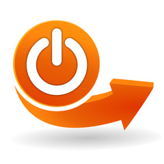 marche arret sur bouton web orange