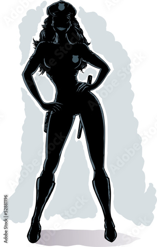 Outline of a sexy cop