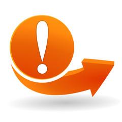 exclamation sur bouton web orange