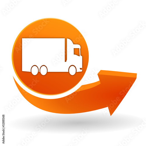 camion sur bouton web orange