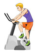 Cartoon illustration of a man riding fitness bike