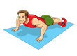 Cartoon illustration of a man doing push up