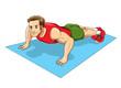Cartoon illustration of a man doing push up
