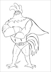 Outline illustration of super rooster