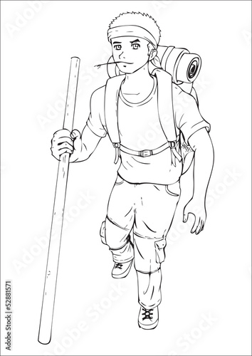 Outline illustration of a man carrying backpack