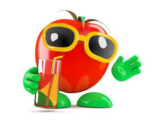 Tomato enjoys a cold drink