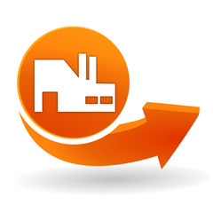 usine sur bouton web orange