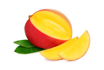 One ripe mango with slices on white background