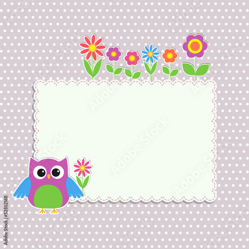 Frame with cute owl and flowers