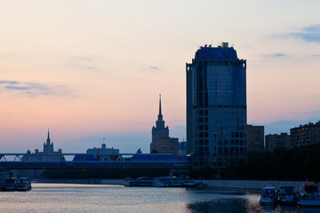 View of Moscow  in sunrise