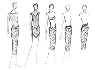 range of clothing with a diagonal stripe
