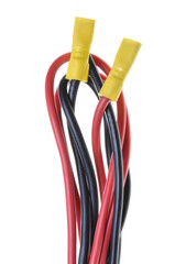 Black and red electric cable with terminal