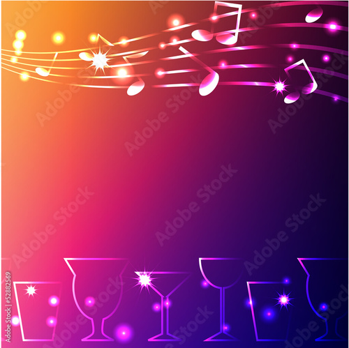 glowing notes and glasses on a dark background