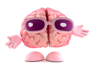 3d Brain shrugs emphatically