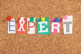 The word Expert on a Cork Board