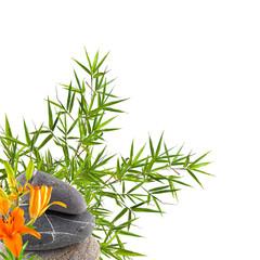 décor zen, lys sur galets et bambou © Unclesam