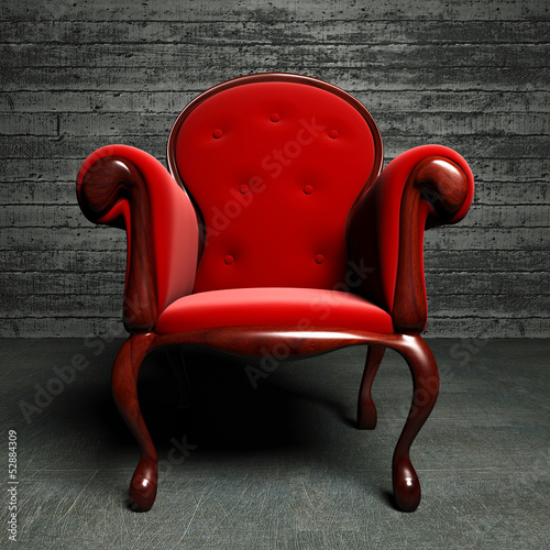 red silk  armchair