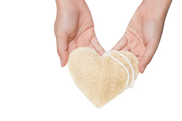 Luffa Scrub in heart shape
