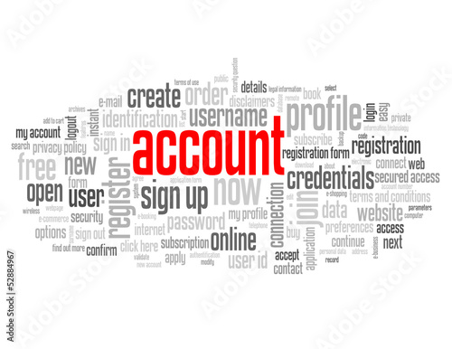 """ACCOUNT"" Tag Cloud (my profile subscribe register join sign up)"