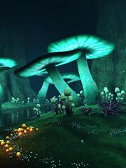 Świecące grzyby w zaczarowanym lesie