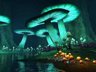 Jezioro nocą z kolorowymi grzybami