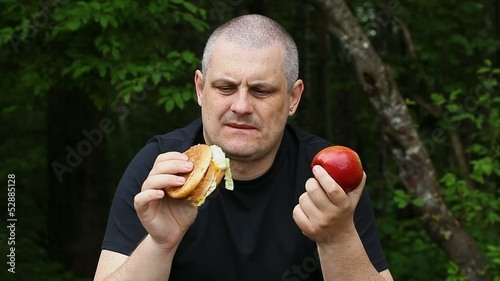 Man can not choose what to eat apple or burger episode 1