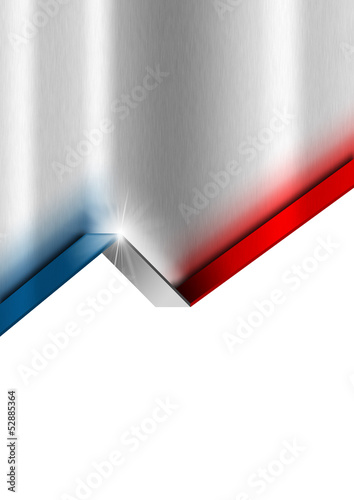 Metal Background with French Flag