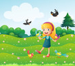 A girl surrounded by many birds