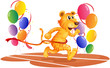 A tiger running with colorful balloons