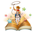 A book with a cowboy holding a rope
