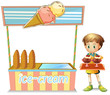 A boy with a tray beside an ice cream cart
