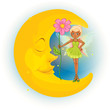 A fairy holding a flower and a sleeping moon