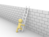 3d man climbing on the brick wall