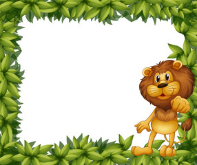 A green leafy frame with a lion