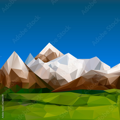 Mountainous terrain polygonal, vector Eps10 illustration.