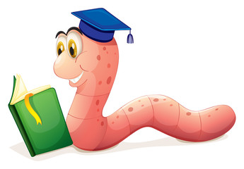 A worm reading wearing a graduation cap