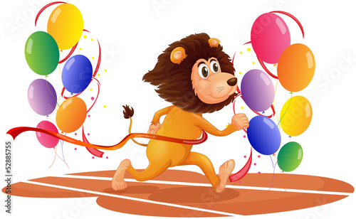 A lion running with colorful balloons