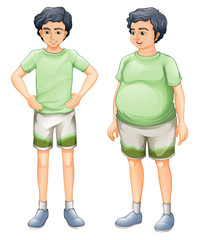 Two boys with same shirt but of different body sizes