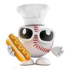 Baseball cooks a great hot dog