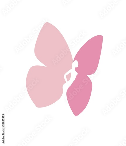 Woman body silhouette with butterfly wings- vector sign