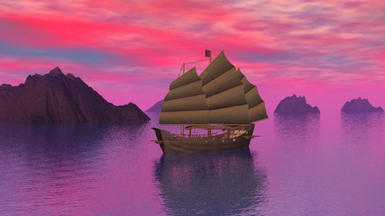 Oriental junk on the ocean by sunset - 3D render