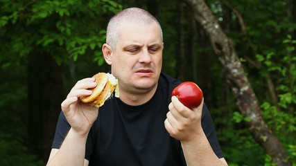 Man can not choose what to eat apple or burger episode 2