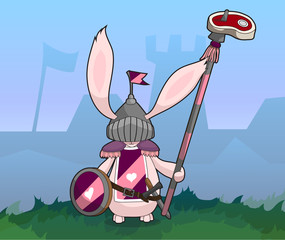 Rabbit Medieval Knight with Sword and Spear