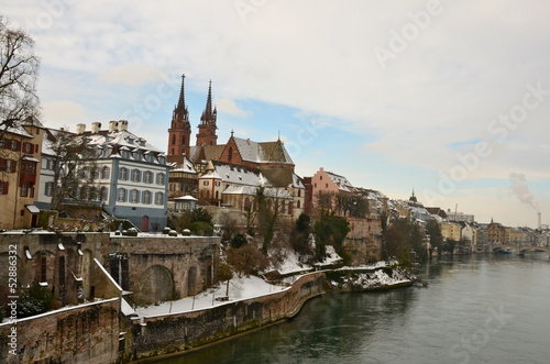 Basel Cathedral in winter, Switzerland