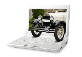 Old car out of the computer screen