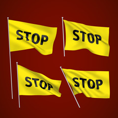Stop - yellow vector flags