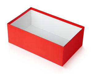 Open red shoe box isolated on white with clipping path