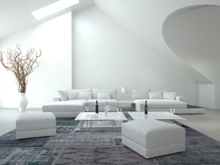 Awesome white colored Living Room | Interior Architecture